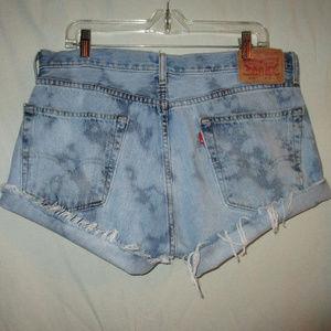 LEVI'S Vintage L XL Bleach Denim Cut Off Shorts